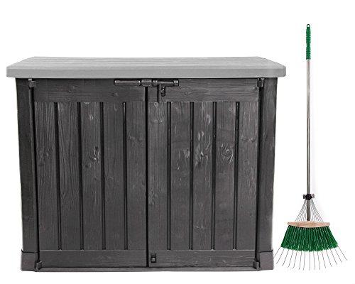 Ondis24 Keter Mülltonnenbox Gartenbox Gerätebox Max mit Laubrechen/Anthrazit Grau / 1200 L/für 2...
