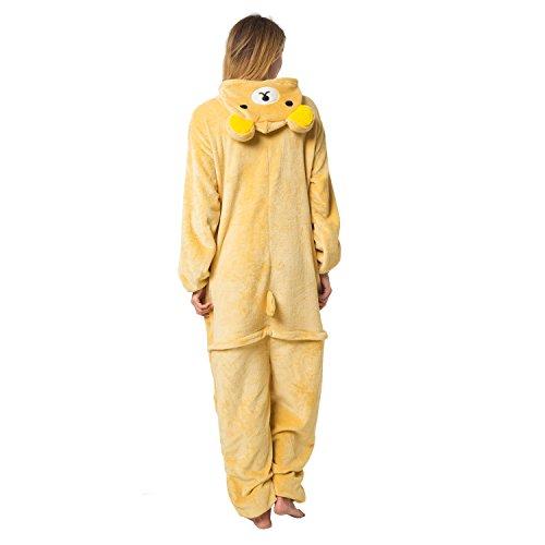 Katara 1744 - Rilakkuma Bär Kostüm-Anzug Onesie/Jumpsuit Einteiler Body für Erwachsene Damen Herren als Pyjama oder Schlafanzug Unisex - viele verschiedene Tiere