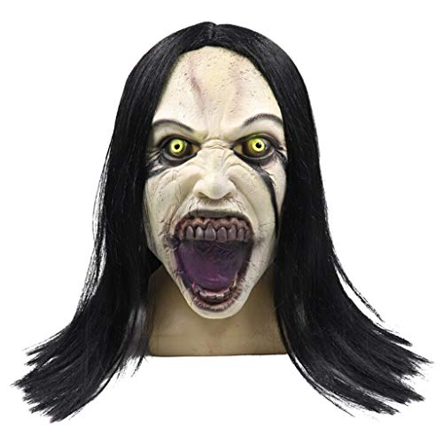 Kind Ghost Kostüm Perücke - QHJ Halloween Kostüm Party Maske Perücke Female Ghost Style Maske Melting Face Adult Latex Kostüm Halloween Scary Helloween Kostüm Party (A)