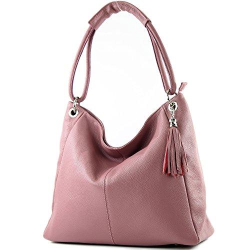 modamoda de - T165 - ital Schultertasche Groß Shopper Leder, Farbe:Altrosa - Rosa Leder Damen Aktentasche