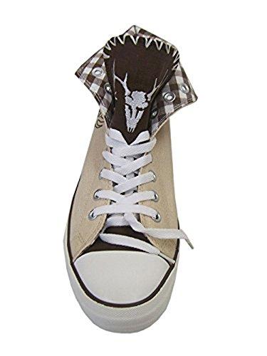 Herren Trachtensneaker Wild Trachtenschuhe für  Herren Sneaker, 46 EU,  beige - 2