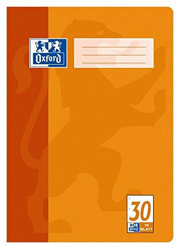 OXFORD 100050316 Schulheft Schule 15er Pack A4 16 Blatt Lineatur 30 - blanko gelocht & perforiert orange