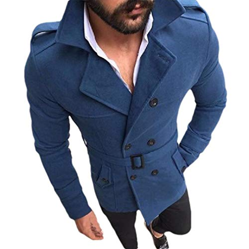 CuteRose Mens Regular Fit Double-Breasted Lapel Belted Overcoat Trench Coat Blue L -