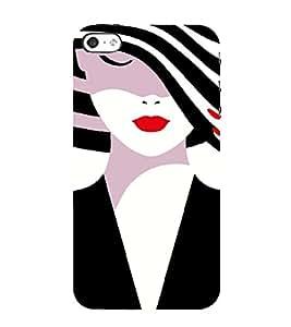 PrintVisa Fashion Girl Hat 3D Hard Polycarbonate Designer Back Case Cover for Apple iPhone 4 :: 4S