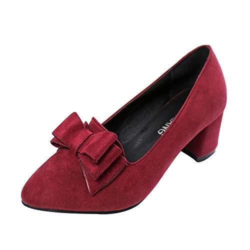 YBC Sandalias Zapatillas Zapatos de tacón Zapatos Bowknot Suede Gruesos para Mujer Zapatos de Moda con Punta Ancha y Punta Estrecha(Vino,38)