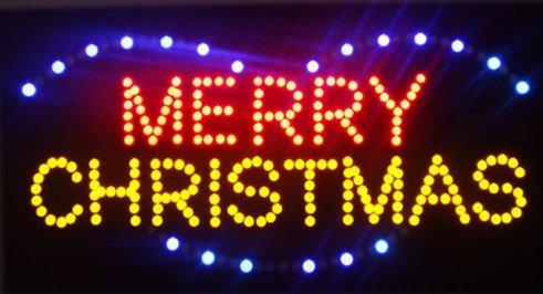 CHENXI Merry/Wohltätigkeitszwecke Happy New Year LED Schild Open Eilte Verkauf Grafiken Animierter Motion Running 48x 25cm Innen Modern 48 X 25 cm Merry Christmas-05 (Merry Christmas Lights-banner)