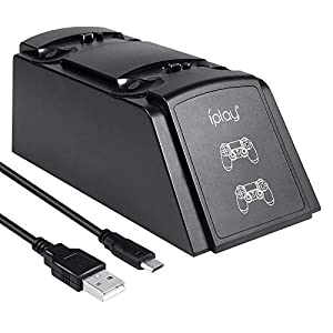 Wetoph PS4 Ladestation, Ladegerät für PS4 GX04 Ladestation Ladegerät für PS4 / Slim/Pro Controller (Drittanbieter-Produkt) -Schwarz