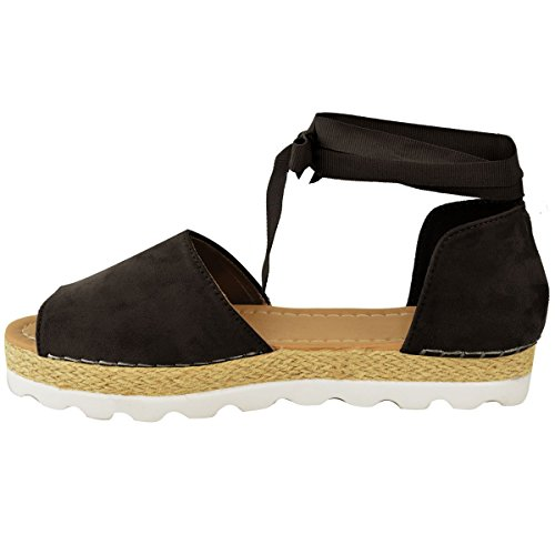 Femmes Lacet Plat Sandales Espadrilles ÉtéÉpais Vacances Chaussures Pointure Noir Daim Synthétique
