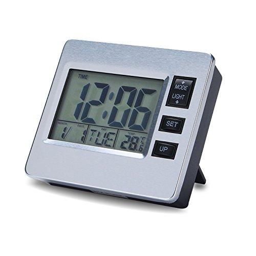 Digitaler magnetischer Wecker mit Datum und Uhrzeit LCD-Hintergrundbeleuchtung Innenthermometer, Countdown-Zeitmesser Aufhängung an der Wand Magnetischer Tisch, Zimmer Küche Schlafzimmer Senioren