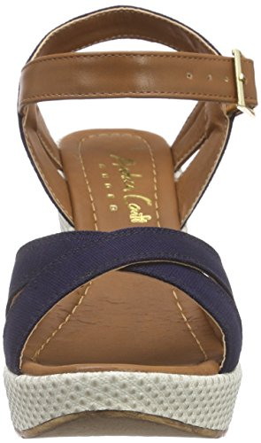 Andrea Conti 1311510, Sandales à Talon Compensé Femme Bleu - Blau (dunkelblau 017)