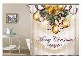 AnazoZ Duschvorhang Anti-Schimmel, Wasserdicht Vorhänge an Badewanne Antibakteriell, Bad Vorhang für Dusche 3D Weihnachtsball Weihnachtsglocken, 100% PEVA, inkl. 12 Duschvorhangringen 165 x 200 cm