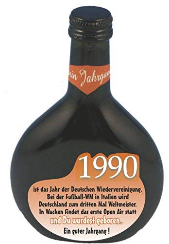 QUATSCHmanufaktur Bocksbeutel zum 30. Geburtstag (für Jahrgang 1990) Rotwein 0,25 l