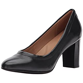 Clarks Women's Chryssa Ari Dress Pump, Black Leather, 6 M US