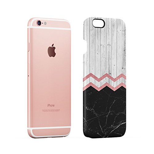 White & Black Cracked Marble & Oak Wood Blocks Custodia Posteriore Sottile In Plastica Rigida Cover Per iPhone 6 & iPhone 6s Slim Fit Hard Case Cover Marble&Plank Chevron