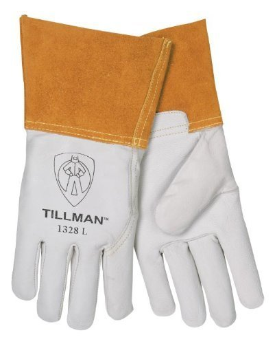 Top Grain Pearl Gray Kidskin Premium Grade TIG Welders Glove With Para-aramid synthetic fiber Stitching, Wing Thumb, 4