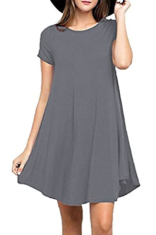 Damen Sommer Kurze Ärmel Locker Reine Farbe Busic T - shirt Mini Kleid