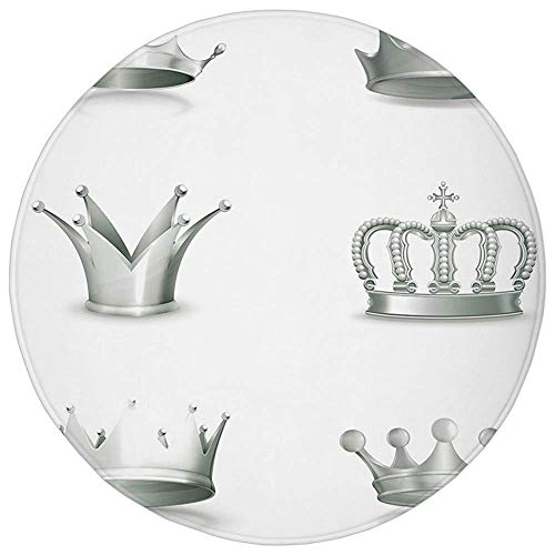 Round Rug Mat Carpet,Silver,Different Kinds of Antique Crowns Queen King Imperial Theme Vintage Symbol Decorative,Pale Green White,Flannel Microfiber Non-slip Soft Absorbent,for Kitchen Floor Bathroom