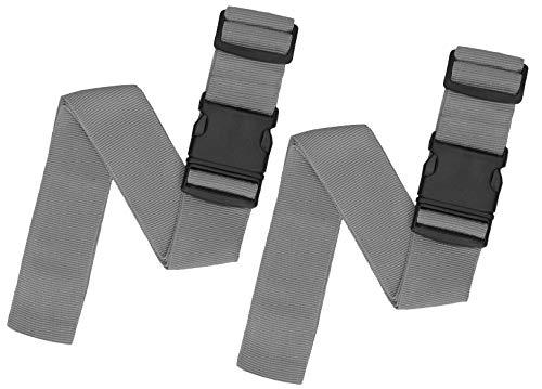 Reise24© Premium Koffergurte extra lang | Einstellbare Kofferbänder als 2er- u 3er Sets | 6 Farben inklusive Kofferanhänger (2X Grau)