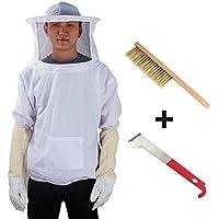 Yodensity Veste De Protection Professionnel Avec Voile Anti Abeille Pour Apiculteur Beekeeping Suit Veste d'apiculture + Gants + Brosse + Outil De Ruche
