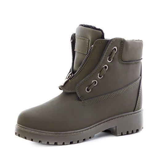 trendige-damen-winter-boots-schnur-stiefel-stiefeletten-mit-reissverschluss-gefuttert-grun-37