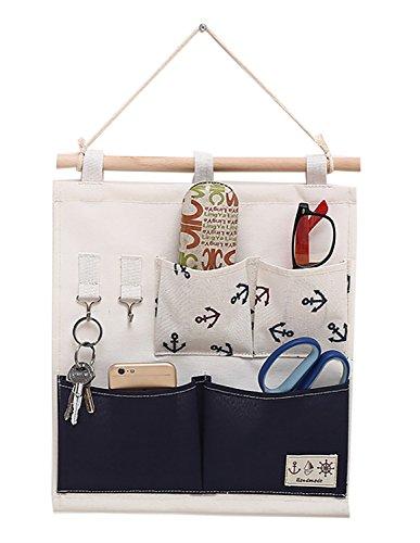 Kreative Hängetasche Mode Bequeme weiche Leinen Aufbewahrungsbeutel Wasserdichte dauerhafte Tür hinter Wand hängenden Aufbewahrungsbeutel, erhältlich in 2 Styles ( PATTERN : Blue base fabric ) (Layer Lightweight Base Unterwäsche)