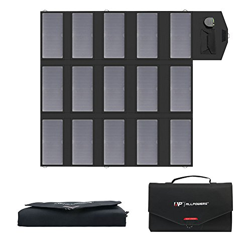 ALLPOWERS 100W Solar Ladegerät (18 V DC und 5V USB Dual Ausgang Ladegerät) SunPower Faltbar Solar Panel 12V Outdoor für Laptop, 12V Auto Batterie, Tablet, iPad, Handy, iPhone, Samsung, RV, Camping