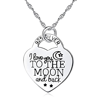 I Love You to the Moon and Back Heart Personalized Pendant Necklace 18""