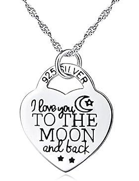 ROTY 45CM ''I Love You To The Moon And Back'' Liebe Herz Schloss Anhänger Halskette  Beschichtet 925 Sterling...
