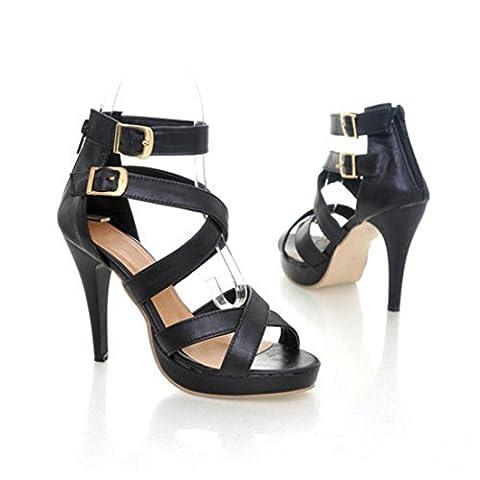 Women's Gladiator High Heels Buckle Platform Outdoor Sandals Black / US 9.5