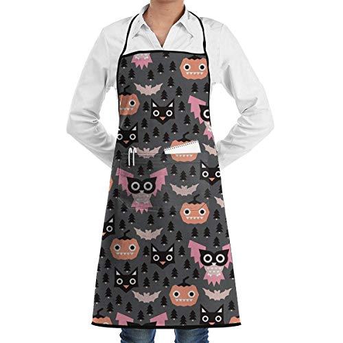 Halloween Geometric Pumpkin Cats Adjustable Kitchen Chef Apron with Pocket & Extra-Long Ties,Men & Women Bib Apron Cute Apron for Cooking,Baking,Crafting,Gardening,BBQ Mens Chef Apron (Halloween Für Cat-look Cute)