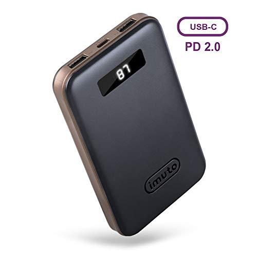 imuto Caricabatterie Portatile 10000mAh Power Bank con USB-C PD2.0 e QC3.0 (5V/3A,9V/2A,12V/1.5A) Batteria Esterna Type-C per iPhone 11/PRO/X/XS Max, Samsung Galaxy S9 S10 S10e, Huawei Mate30, ECC.