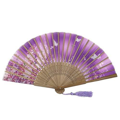 Totoro Kostüm Muster - Kviklo Handfächer Faltstoff Fächer Schmetterlinge Blume Durchbrochene Bambus Kostüm Party Hochzeit Chinesisch/Japanisch Dekorationen(Violett-1,23cm)