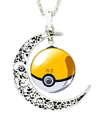 te Mnpkmn - Pokemon Go-Halskette Pokeball mit Doppelmond-Anhänger und Cabochon in 7 Farben (gelb - weiß) ()