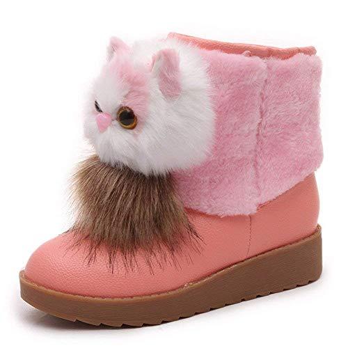 Katzen Womens Baumwolle (DEED Women 'S Stiefel Stiefel EIN Dicker Boden Cartoon Katze Dicke warme Winter Baumwolle Schuhe,38 EU,Rosa)