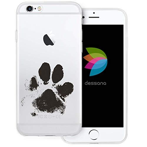 dessana Tier Pfoten Abdrücke transparente Silikon TPU Schutzhülle 0,7mm dünne Handy Tasche Soft Case für Apple iPhone 6/6S Plus H&e Tatze