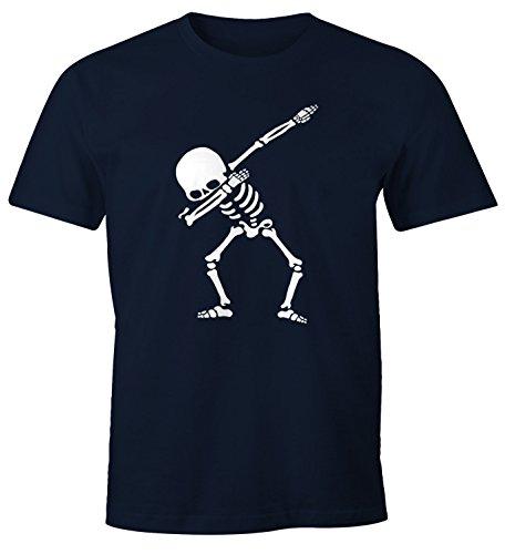 MoonWorks Herren T-Shirt Dab Skeletton Hip Hop Dance Tanz Skelett Dabbing Fun-Shirt Navy L