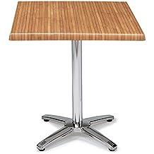 "Mesa DNM AB Mesa de exterior de pie central. Estructura de aluminio y tablero ""SOLO"". Base de 4 patas. Abatible. Tablero 70x70. Artículo ideal para restaurantes, bares, hoteles, terrazas, cafeterías, mobiliario de restauración"