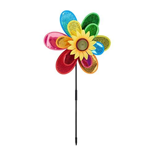 Relaxdays Windrad Blume, dekorativer Blumenstecker, Gartendeko für Balkon oder Terrasse, HBT 74,5 x 37,5 x 14 cm, bunt