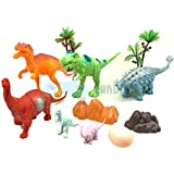 FunBlast Dinosaur Toy Set of 6 Pcs | Dinosaurs Animals Figures Toys Set with Tree and Eggs for Kids|Boys