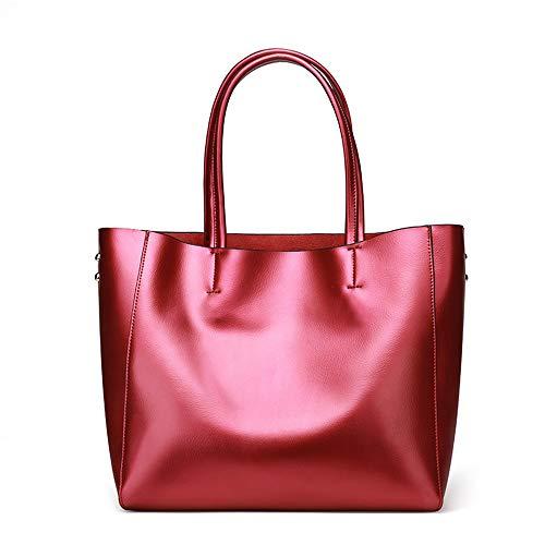 Kieuyhqk Damen Handtaschen aus weichem Leder mit großer Kapazität Retro Vintage Top-Griff Casual Tote Umhängetaschen Women's Casual Handbag Schulter-Handtasche (Color : Wine red)