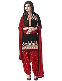 Lords Black Satin Cotton Unstitched Patiala Salwar Suit