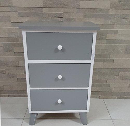 Paganohome cassettiera 3 cassetti grigio bianco laccato lucido mobile bagno, legno bianco camera letto comodino dimensioni 40 x 29 h 61 cm.