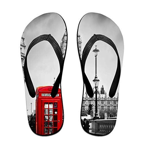 London Big Ben Unisex Adults Casual Flip-Flops Sandal Pool Party Slippers Bathroom Flats Open Toed Slide Shoes Small