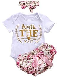 Counjunto de ropa bebé niña Verano ❤️ Amlaiworld Recién nacido bebé niñas carta Floral Monos Verano mameluco tops y pantalones cortos ropa conjunto (Blanco, Tamaño:0-3Mes)
