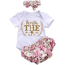 Counjunto de ropa bebé niña Verano ❤️ Amlaiworld Recién nacido bebé niñas carta Floral Monos Verano mameluco tops y pantalones cortos ropa conjunto (Blanco, Tamaño:12-18Mes)