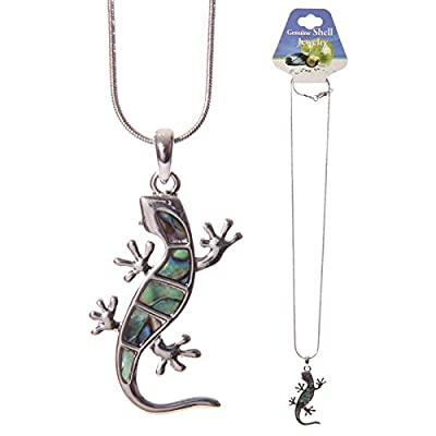 Funky Lizard Necklace with Shell Inlay