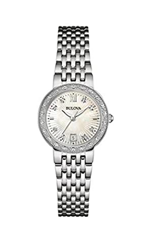 Bulova Ladies Women's Designer Diamond Watch Bracelet - Stainless Steel Mother Of Pearl Dial Wrist Watch