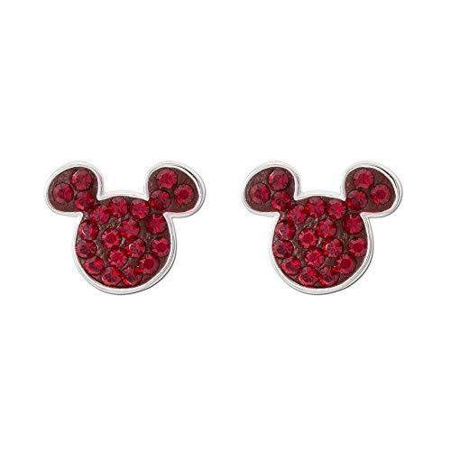 Disney Mickey Mouse - Pendientes de plata de ley con piedra de nacimiento de Mickey, 90 cumpleaños, aniversario