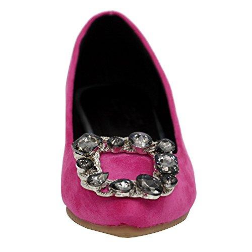 AalarDom Damen Mattglasbirne Ziehen Auf Spitz Zehe Ohne Absatz Flache Schuhe Rosa-Zirkon