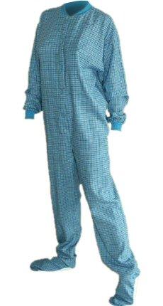 BIG Feet Baumwolle Karo Flanell Adult Footed Schlafanzüge mit Drop-Sitz X-Klein Türkis (Footed Pajamas Baumwolle)